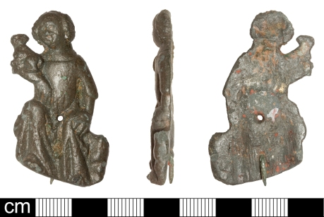 SOM-5CA9DD copper alloy mount, showing Agnes holding a lamb